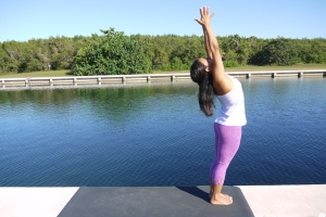 Extending your breath long, reach your arms up