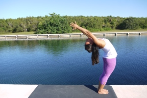 Reach your heart up and hips forward. Perhaps back bending only as far as you can. Keep squeezing your thighs