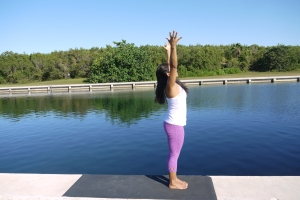 Urdhva Hastasana: Inhale extednd your body long and reach for your hands