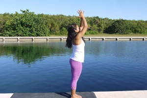 Exhale. Return the hands back to heart center