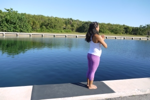 TADASANA: Feel that you are squeezing your thighs, big toes are touching. Heels slightly apart. Core engaged and tailbone tucked.